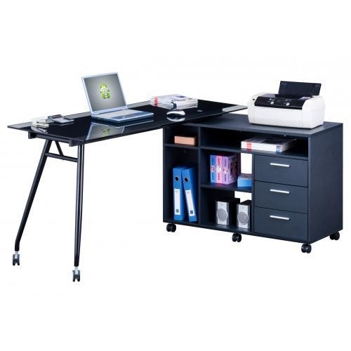 Mesa de depacho con ruedas flex cristal y grafito for Mesa de ordenador con ruedas
