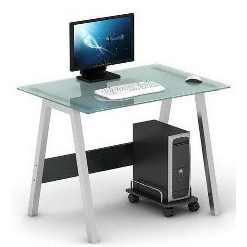 Mesa de ordenador en cristal delta 76x100 cm mesa de - Mesas de escritorio de diseno ...