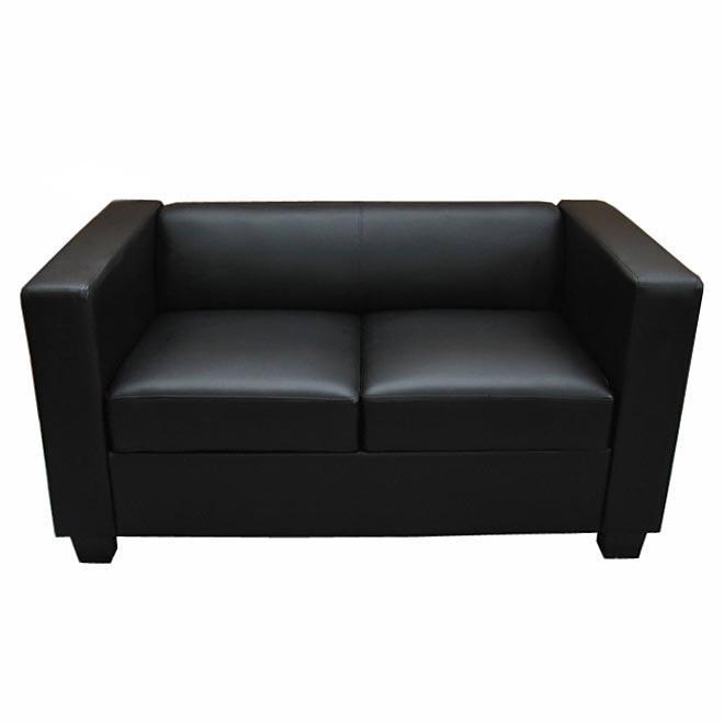 Sof 2 plazas basilio muy c modo en piel color negro - Sofas elegantes diseno ...