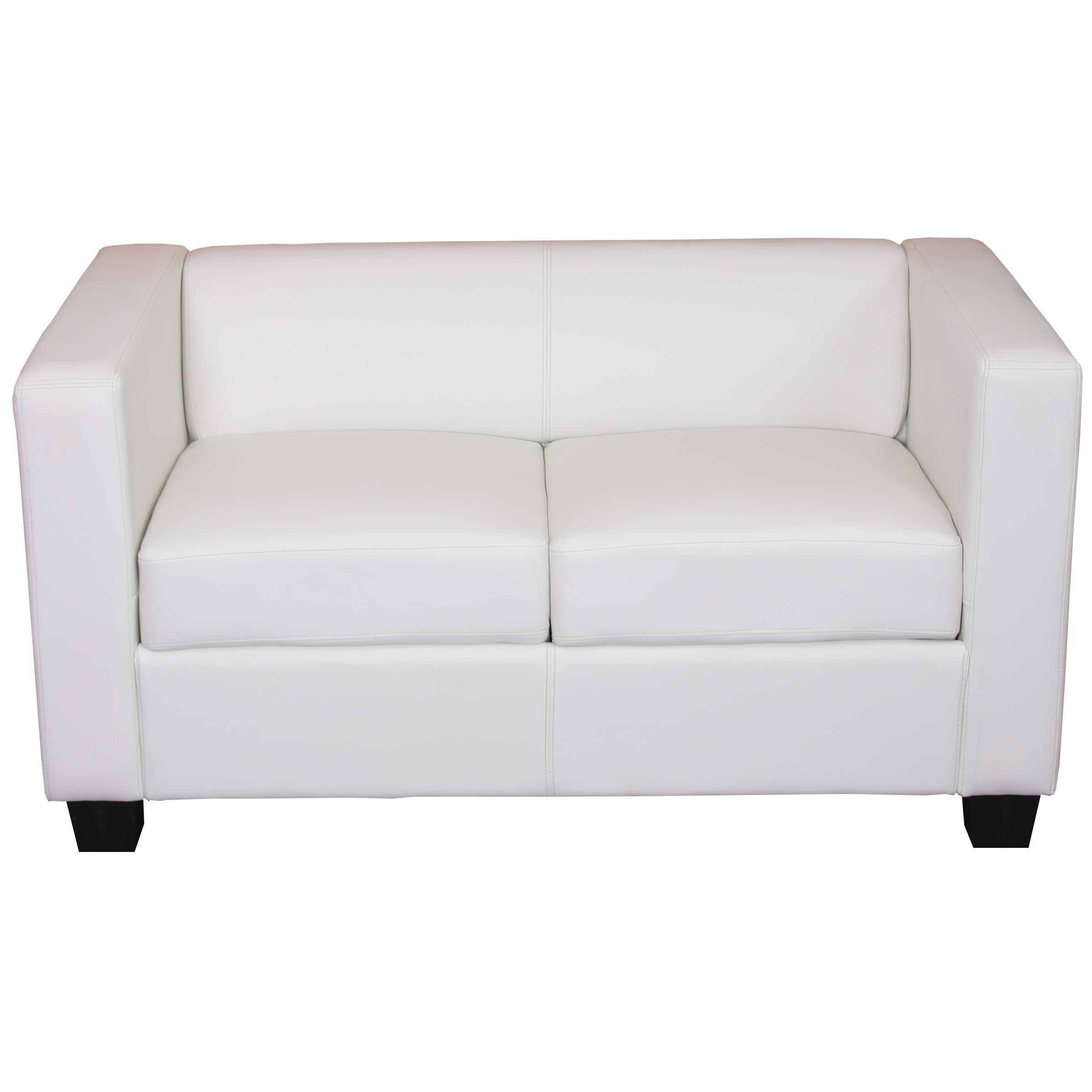 Sof 2 plazas basilio muy c modo en piel color blanco for Sofa gran confort precios